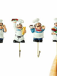 2015 New French Chef Wall Decoration Coat and Hat Hangers 4pcs/Set