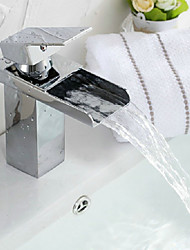 Modern Waterfall Chrome Bathroom Faucet - Sliver
