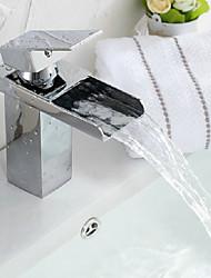 Modern Waterfall Chrome Bathroom Faucet - Sliver