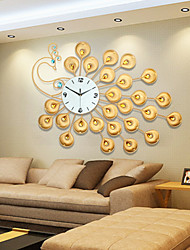 Modern Style Creative Golden Super Big Peacock Mute Wall Clock