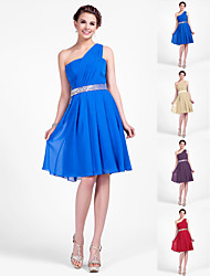 Knee-length Chiffon Bridesmaid Dress - Royal Blue / Ruby / Champagne / Grape Plus Sizes / Petite A-line / Princess One Shoulder