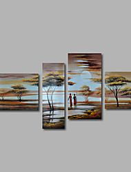 Hand-Painted Oil Painting on Canvas Wall Art Landscape African Scenery Sunrise Four Panel Ready to Hang