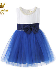Girl Blue Grenadine Peplum Party Wedding Dresses