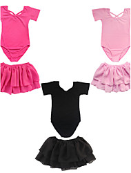 Toddler Girls Flutter Ruffle Short Sleeve Leotard Kids Gymnastics Dancewear Cotton Top   4-14Y