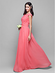 Floor-length Chiffon Bridesmaid Dress Sheath/Column V-neck