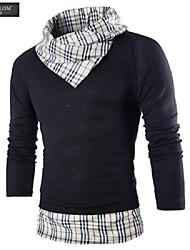 JESUNLOM®Man's T-shirt Fashion Long Sleeve Scarf Collar Slim T-shirt Korean Style Young Man Casual Under Shirt