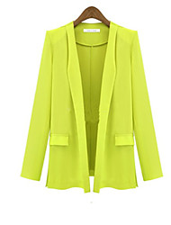 SUNNY  Women's Shirt Collar Pleated Coats & Jackets , Cotton Casual/Party/Work Long Sleeve
