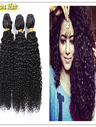 3 Pcs/Lot Brazilian Virgin Hair Weave Mix Length 3pcs Lot Natural Color afro curl kinky Free Shipping