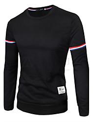 Men's Solid Sport T-Shirt,Cotton Long Sleeve-Black / Gray