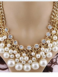 Rich Long Women's Elegent Diamonade Man Made Pearl Necklace