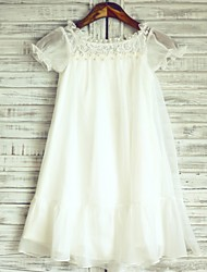 Princess Knee-length Flower Girl Dress - Chiffon Lace Jewel with Lace