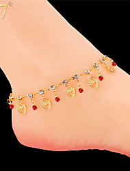 U7® Women's Heart Charms 18K Gold Plated Multicolor Rhinestone SEXY Summer Dress Jewelry Ankle Chain Anklet Bracelet