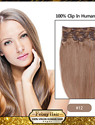 "klem in remy human hair extensions 7pcs 20 ""goudbruin (# 12)"