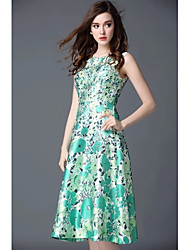 Hot Sale Autumn and Summer New Women Long Dress Round Neck Sleeveless Flower Printed Elegant Dresses Plus Size Dress