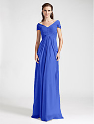 Lanting Bride® Floor-length Chiffon Bridesmaid Dress Sheath / Column Off-the-shoulder / V-neck Plus Size / Petite withDraping / Criss