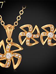 U7® Women's Windmill Earrings Clear Rhinestone Crystal Fashion Jewelry Set Platinum/Gold Plated Pendant Necklace Set