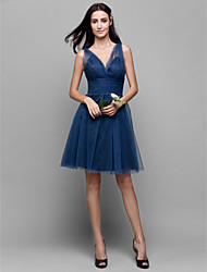 Lanting Bride® Knee-length Tulle Bridesmaid Dress - A-line V-neck with Criss Cross