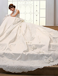 Ball Gown Wedding Dress - Ivory Chapel Train High Neck Satin