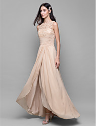 Lanting Asymmetrical Chiffon / Lace Bridesmaid Dress - Champagne A-line Bateau