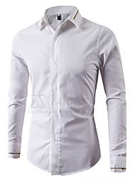 Men's Solid Formal Shirt,Cotton Long Sleeve Black / White