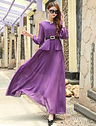 Women's Strapless/Round Neck Elegent Slim Thin Full-length Dress , Chiffon Maxi Long Split Sleeve