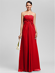 Floor-length Chiffon Bridesmaid Dress - Plus Size / Petite Sheath/Column Strapless