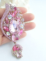 Gorgeous 4.33 Inch Gold-tone Pink Rhinestone Crystal Flower Brooch Women Jewelry Art Deco