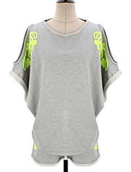 T-Shirt Da donna Rotonda Mezze maniche Misto cotone