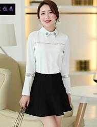 Women's Solid White/Black Shirt , Shirt Collar Long Sleeve Beaded