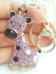 Charming Deer Giraffe Key Chain With Purple Rhinestone Crystals