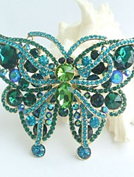 Gorgeous 3.74 Inch Gold-tone Turquoise Green Rhinestone Crystal Butterfly Brooch Pendant Art Deco