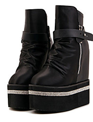 Women's Shoes   Flat Heel Round Toe Boots Casual Black/White