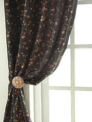 Two Panels Rose Garden Embroidery Panel Curtains Drapes Black