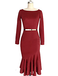 W.W.W  Women's Round Dresses , Cotton Sexy/Casual/Party Long Sleeve