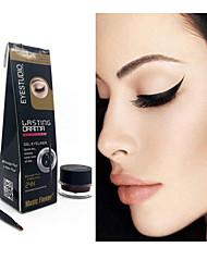 New Waterproof Eye Liner Eyeliner Shadow Gel Makeup Cosmetic + Brush Black