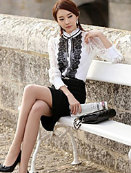 Women's Formal Simple / Street chic Spring Shirt Stand Long Sleeve White Others Thin