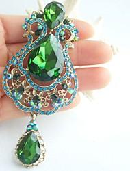 3.94 Inch Gold-tone Blue Green Rhinestone Crystal Drop Flower Brooch Art Decorations