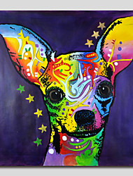 Hand-Painted Oil Painting on Canvas Wall Art Pop Art Cute Dog One Panel Ready to Hang
