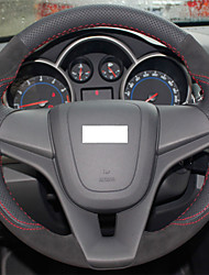 XuJi ™ Black Genuine Leather Suede Steering Wheel Cover for Chevrolet Cruze Aveo