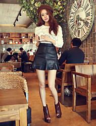 Women's Solid Black Skirts , Bodycon Mini Ruffle