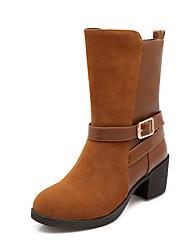 Zapatos de mujer Semicuero Tacón Robusto Punta Redonda Botas Casual Negro/Amarillo/Bermellón