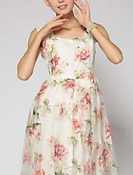 Women's Floral Dress , Vintage/Print Short Sleeve