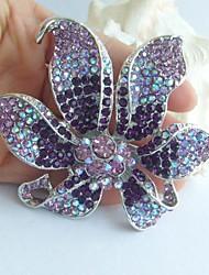 Wedding Gorgeous 3.74 Inch Silver-tone Purple Rhinestone Crystal Orchid Flower Brooch Pendant