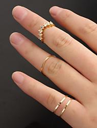 Women Fashion Zircon V Shaped Thin Ring Set Joint Ring Set Multi Finger Ring