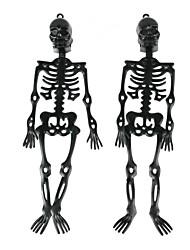 Halloween Rubber Skeleton Frame Hanging Decoration Ornament 2 PCS