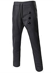 Pantalon de Sport Pour des hommes Couleur plaine Sport Coton Noir / Gris