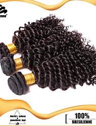 """3шт / много 12 """"-30"""" бразильские волосы девственные натуральный черный кудрявый кудрявый 100% человеческий волос необработанный ткет"""