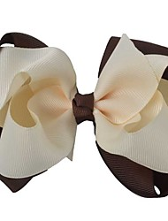 4.5Inch Double Layers Boutique Hair Bows Grosgrain Ribbon Coffee Cream Color Hair Clips Stacked Hairclips Headwear HG063