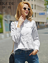 Veri Gude Women's Cotton Loose Blouse Pleated White Shirt Puff Sleeve Hidden Button