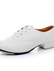 Non Customizable Men's Dance Shoes Tap Satin Chunky Heel Black/White